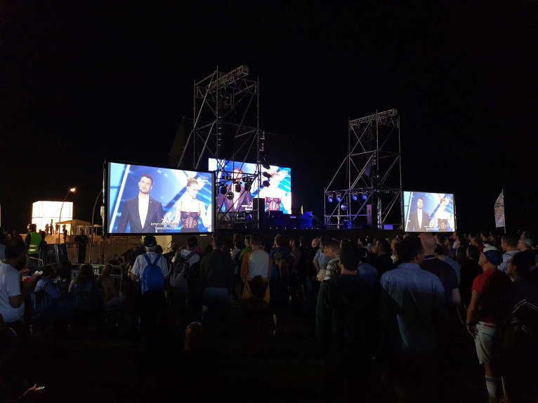 Watching the Eurovision Second Semi-Finals at Tel Aviv Port