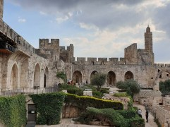 Courtyard of the Tower of David in the daytime.