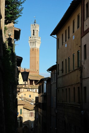Approaching Torre del Mangia-Siena, Tuscany as seen from one of the near vertical streets nearby
